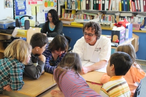 Chef Mark Filatow of Waterfront Wines showing students different seeds